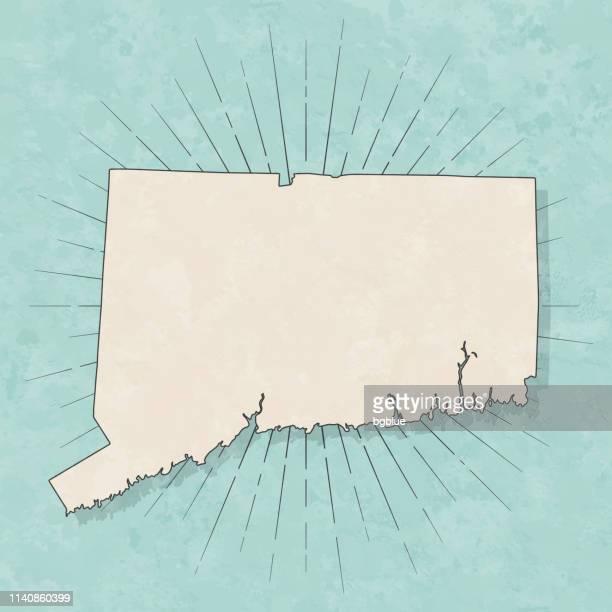 レトロなヴィンテージスタイルでコネチカットの地図-古い質感の紙 - コネチカット州点のイラスト素材/クリップアート素材/マンガ素材/アイコン素材