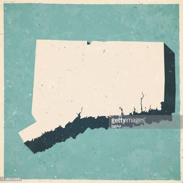 レトロなヴィンテージスタイルのコネチカット州マップ - 古いテクスチャ紙 - コネチカット州点のイラスト素材/クリップアート素材/マンガ素材/アイコン素材