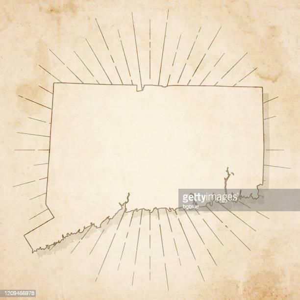 レトロなヴィンテージスタイルでコネチカット地図 - 古いテクスチャペーパー - コネチカット州点のイラスト素材/クリップアート素材/マンガ素材/アイコン素材