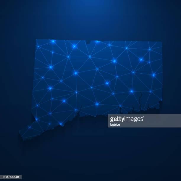 コネチカット州の地図ネットワーク - 濃い青色の背景に明るいメッシュ - コネチカット州ハートフォード点のイラスト素材/クリップアート素材/マンガ素材/アイコン素材