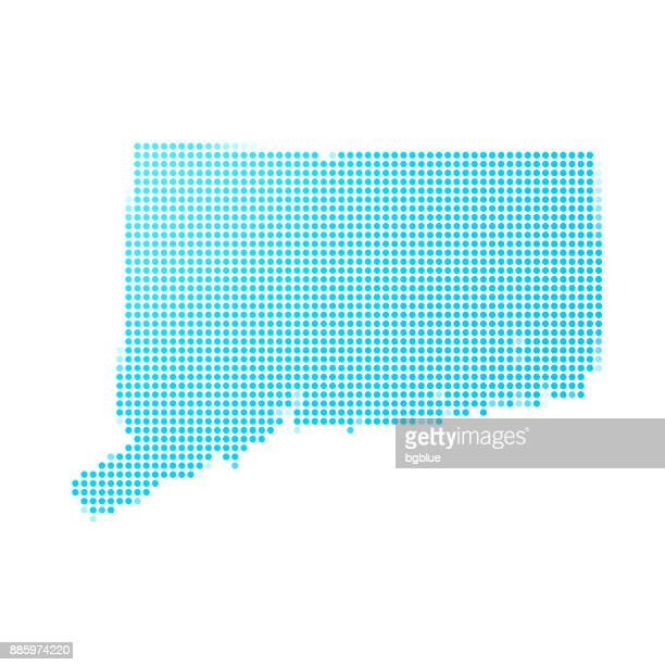 Connecticut map of blue dots on white background