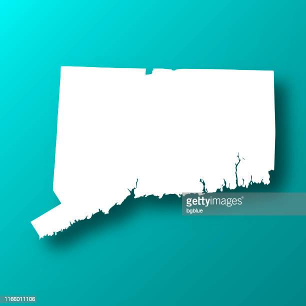 connecticut map on blue green background with shadow - hartford connecticut stock illustrations, clip art, cartoons, & icons