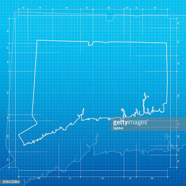 Connecticut map on blueprint background