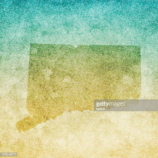 connecticut map on grunge canvas background - hartford connecticut stock illustrations, clip art, cartoons, & icons