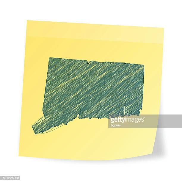 connecticut map on sticky note with scribble effect - hartford connecticut stock illustrations, clip art, cartoons, & icons