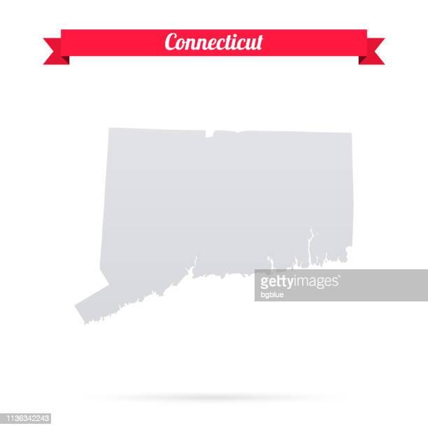 赤いバナーと白の背景にコネチカットの地図 - コネチカット州ハートフォード点のイラスト素材/クリップアート素材/マンガ素材/アイコン素材