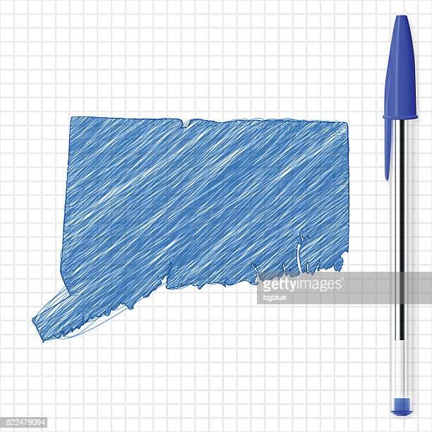 Connecticut map sketch on grid paper, blue pen