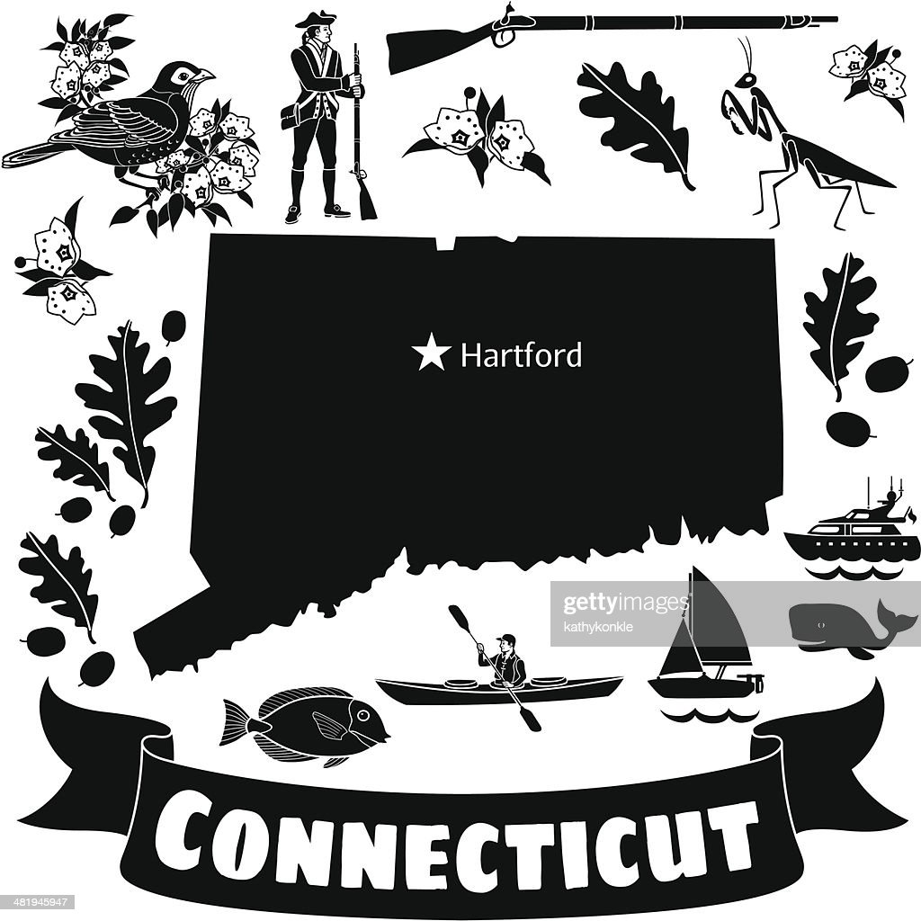 Connecticut map : stock illustration