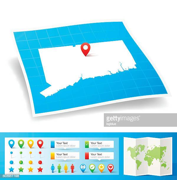 connecticut map with location pins isolated on white background - hartford connecticut stock illustrations, clip art, cartoons, & icons