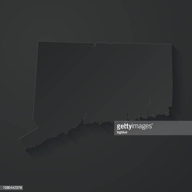 Connecticut map with paper cut effect on black background