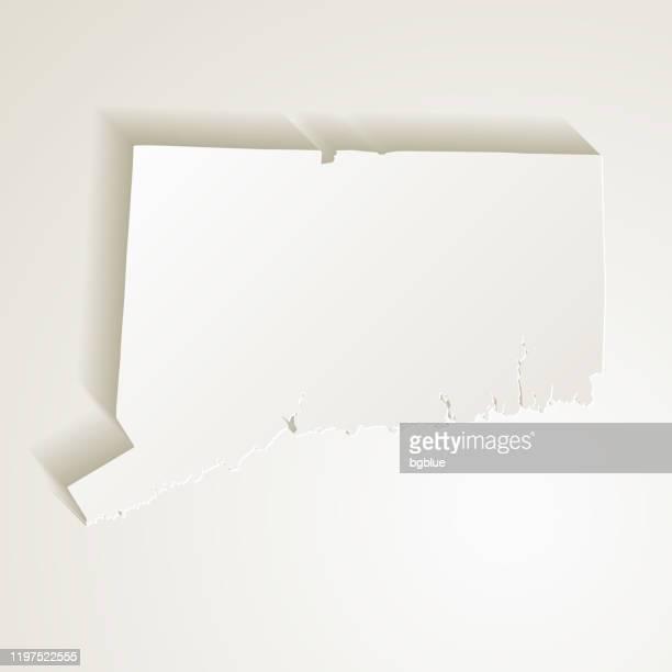 空白の背景に紙カット効果を持つコネチカット州マップ - コネチカット州点のイラスト素材/クリップアート素材/マンガ素材/アイコン素材
