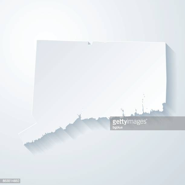 Connecticut map with paper cut effect on blank background