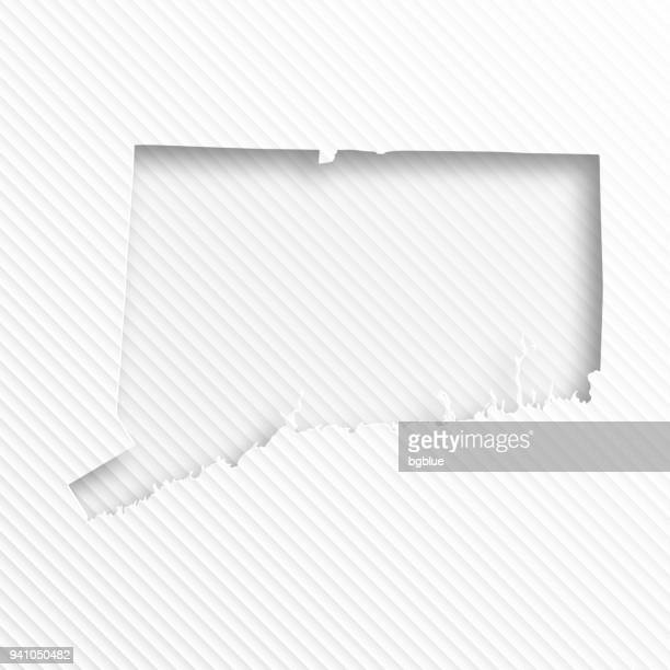 Connecticut map with paper cut on abstract white background