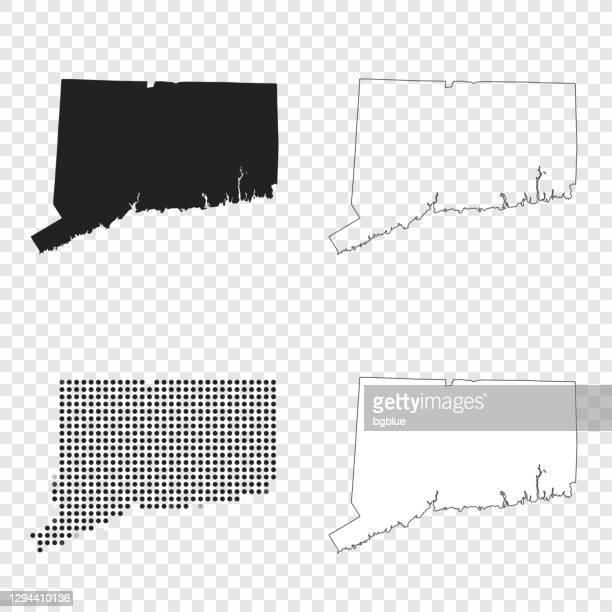 デザインのためのコネチカット州の地図 - 黒、アウトライン、モザイク、白 - コネチカット州ハートフォード点のイラスト素材/クリップアート素材/マンガ素材/アイコン素材