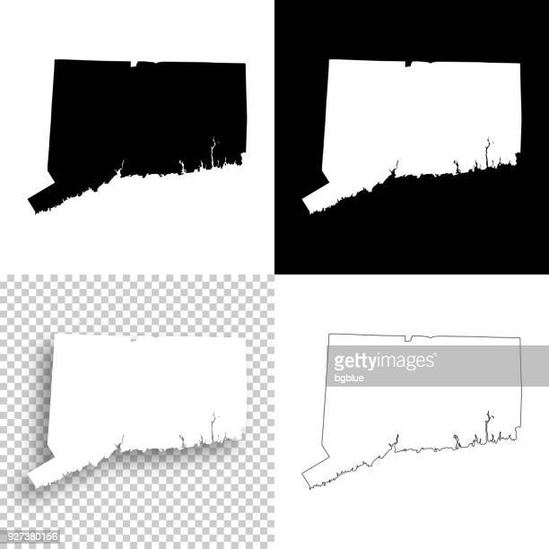 Connecticut maps for design - Blank, white and black backgrounds