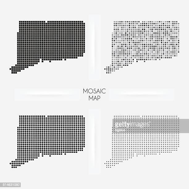 コネチカット州地図モザイク squarred とドット - コネチカット州ハートフォード点のイラスト素材/クリップアート素材/マンガ素材/アイコン素材