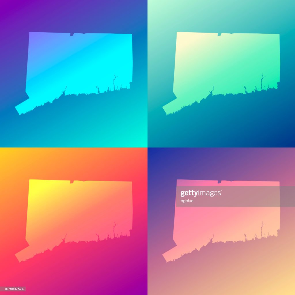 Connecticut maps with colorful gradients - Trendy background : stock illustration
