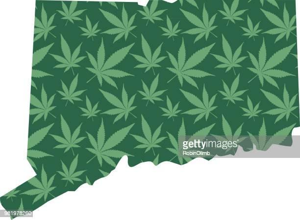 コネチカット州のマリファナの葉パターン - コネチカット州ハートフォード点のイラスト素材/クリップアート素材/マンガ素材/アイコン素材
