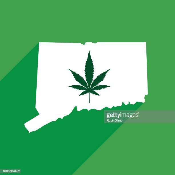 コネチカット州のマリファナの地図 - コネチカット州点のイラスト素材/クリップアート素材/マンガ素材/アイコン素材