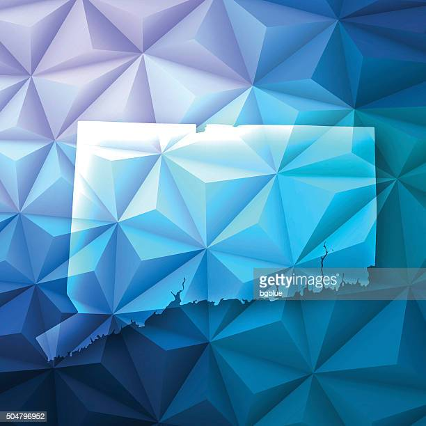 Connecticut on Abstract Polygonal Background - Low Poly, Geometric