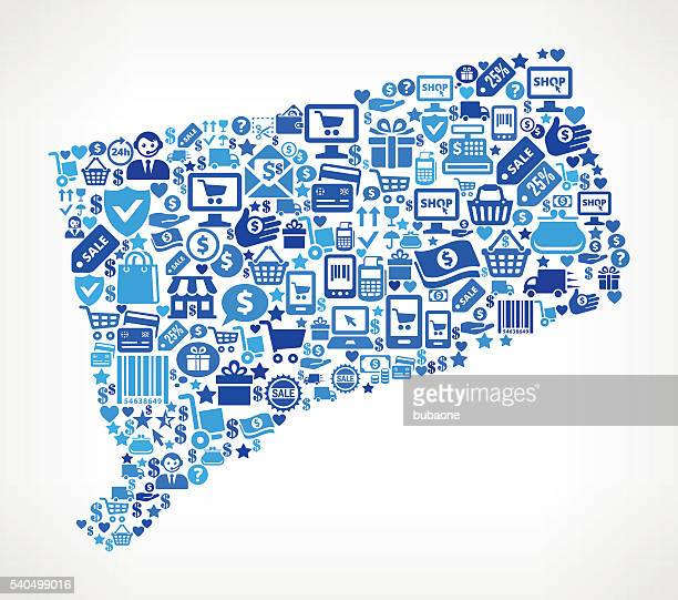 Connecticut Shopping and Commerce Blue Icon Pattern