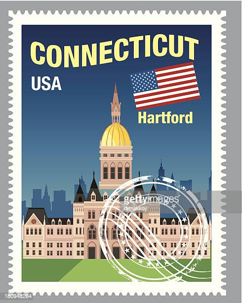connecticut stamp - hartford connecticut stock illustrations, clip art, cartoons, & icons