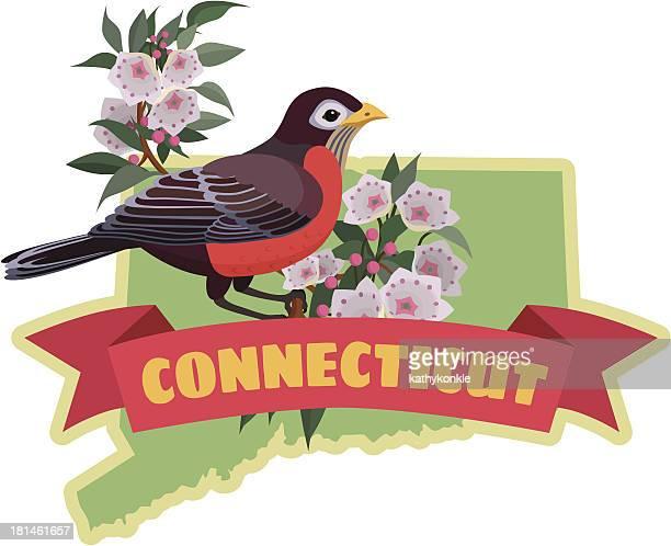 ilustrações, clipart, desenhos animados e ícones de estado de connecticut de pássaros e flores - mel do louro da montanha