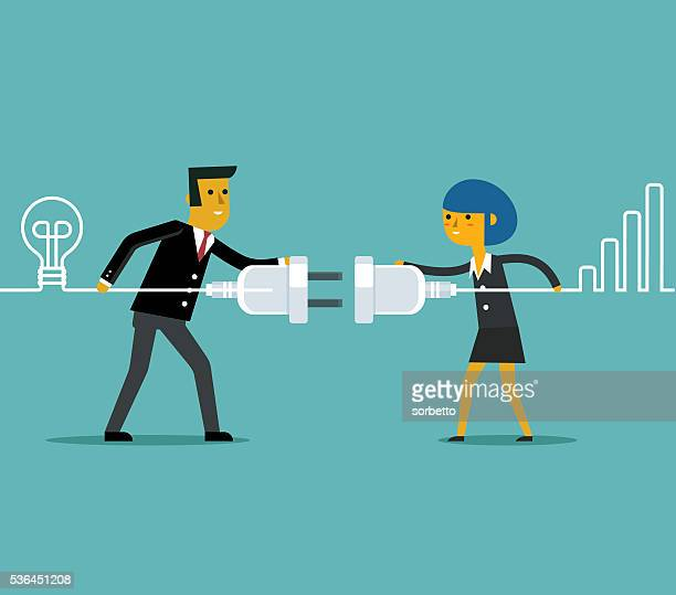connecting business people - steel cable stock illustrations, clip art, cartoons, & icons