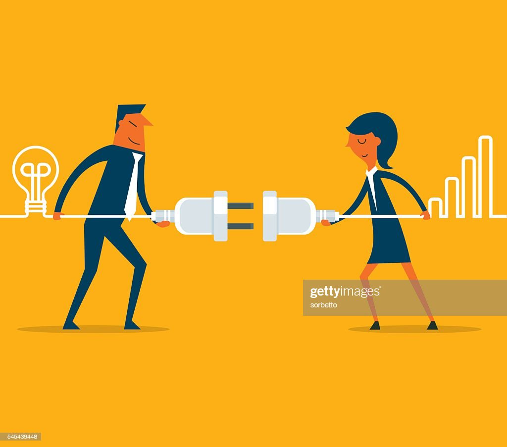 Connecting business people : stock illustration
