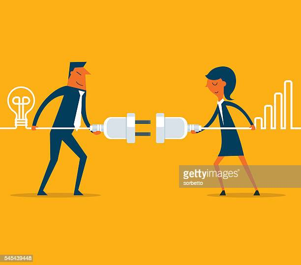 connecting business people - cable stock illustrations, clip art, cartoons, & icons