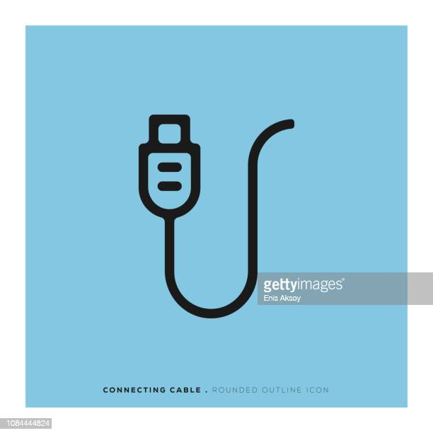 connecting cable rounded line icon - computer cable stock illustrations