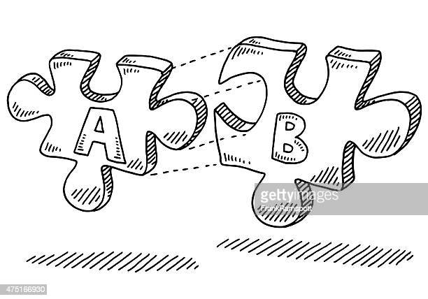 connecting jigsaw pieces teamwork concept drawing - things that go together stock illustrations