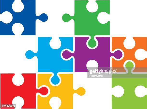 connecting puzzle pieces - jigsaw piece stock illustrations, clip art, cartoons, & icons