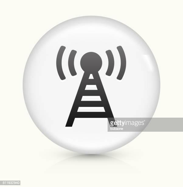 Ligação antena ícone num botão de vetor arredondado branco
