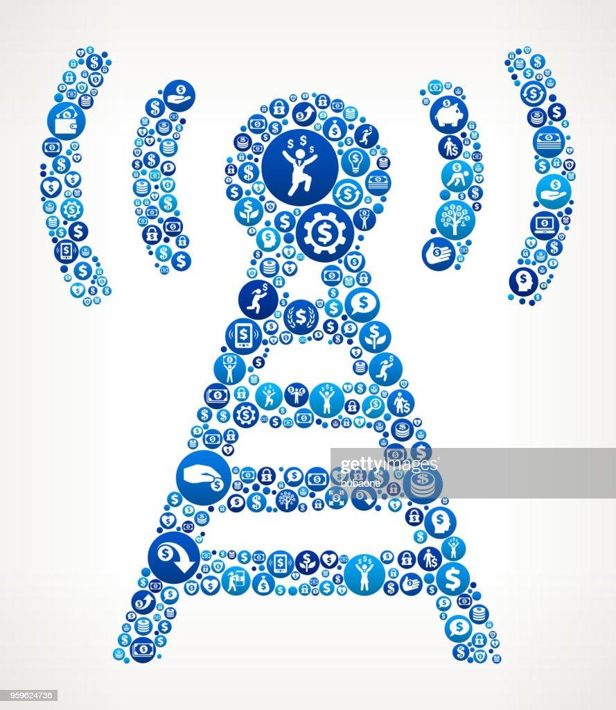 Verbindung Geld blaues Symbol Muster Hintergrund : Stock-Illustration