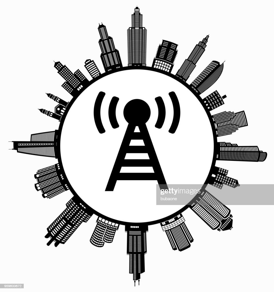 Verbindung auf modernen Stadtbild Skyline Hintergrund : Stock-Illustration