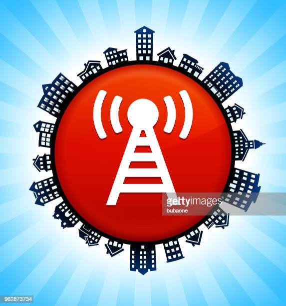 ilustraciones, imágenes clip art, dibujos animados e iconos de stock de conexión en el fondo del horizonte de paisaje urbano rural - torresdetelecomunicaciones