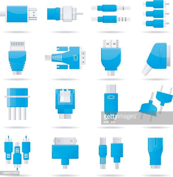 ilustraciones, imágenes clip art, dibujos animados e iconos de stock de conectores, conectores jack, cables de iconos de ordenador - usb cable