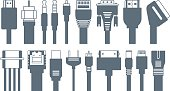 Connectors, jacks, cables - computer icons
