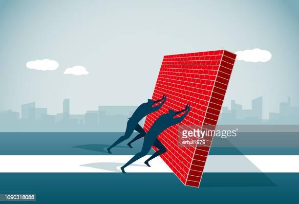 conquering adversity - tilt stock illustrations