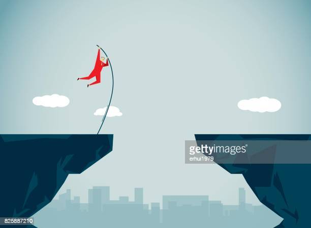 conquering adversity - jumping stock illustrations