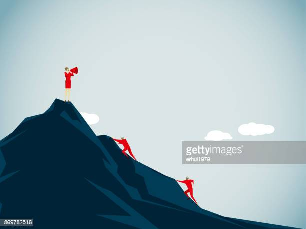 conquering adversity - rock climbing stock illustrations, clip art, cartoons, & icons