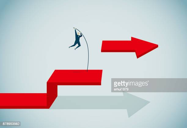 conquering adversity - pole vault stock illustrations