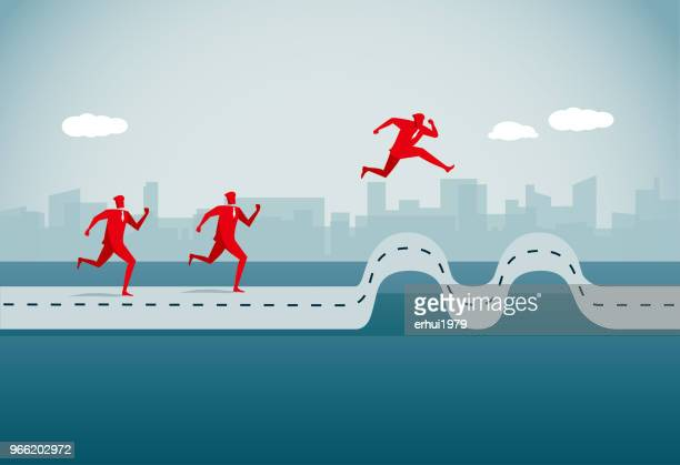 conquering adversity - hurdle stock illustrations
