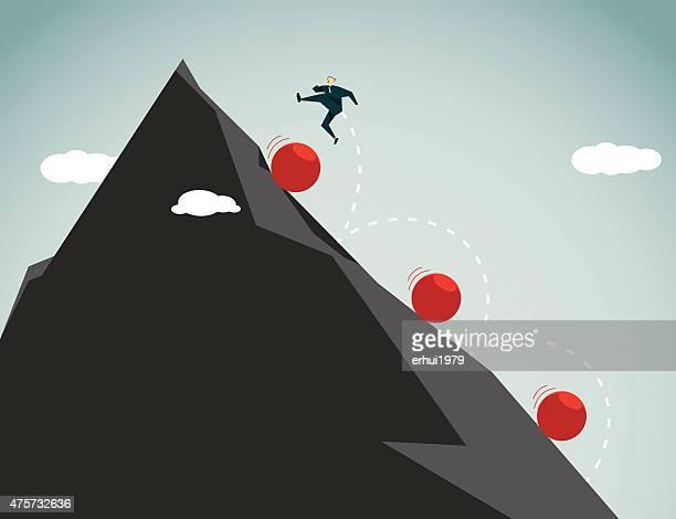 conquering adversity-illustration - drive ball sports stock illustrations, clip art, cartoons, & icons