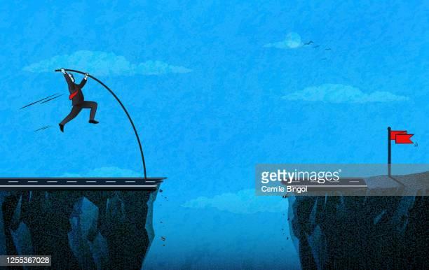 逆境-棒高跳びの征服 - 逆境点のイラスト素材/クリップアート素材/マンガ素材/アイコン素材