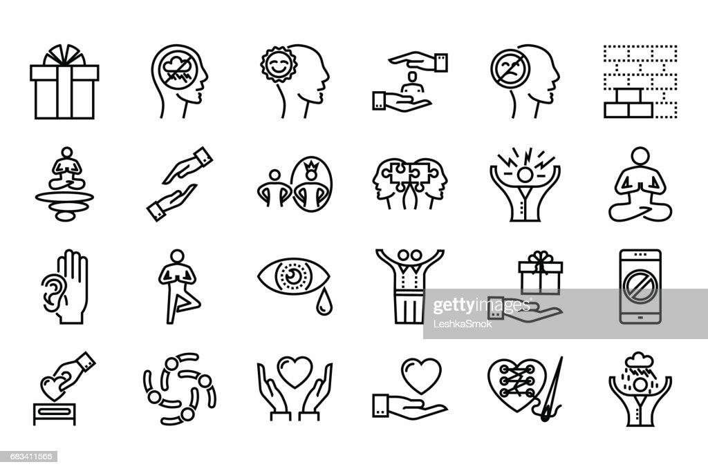 Conscious living icons set
