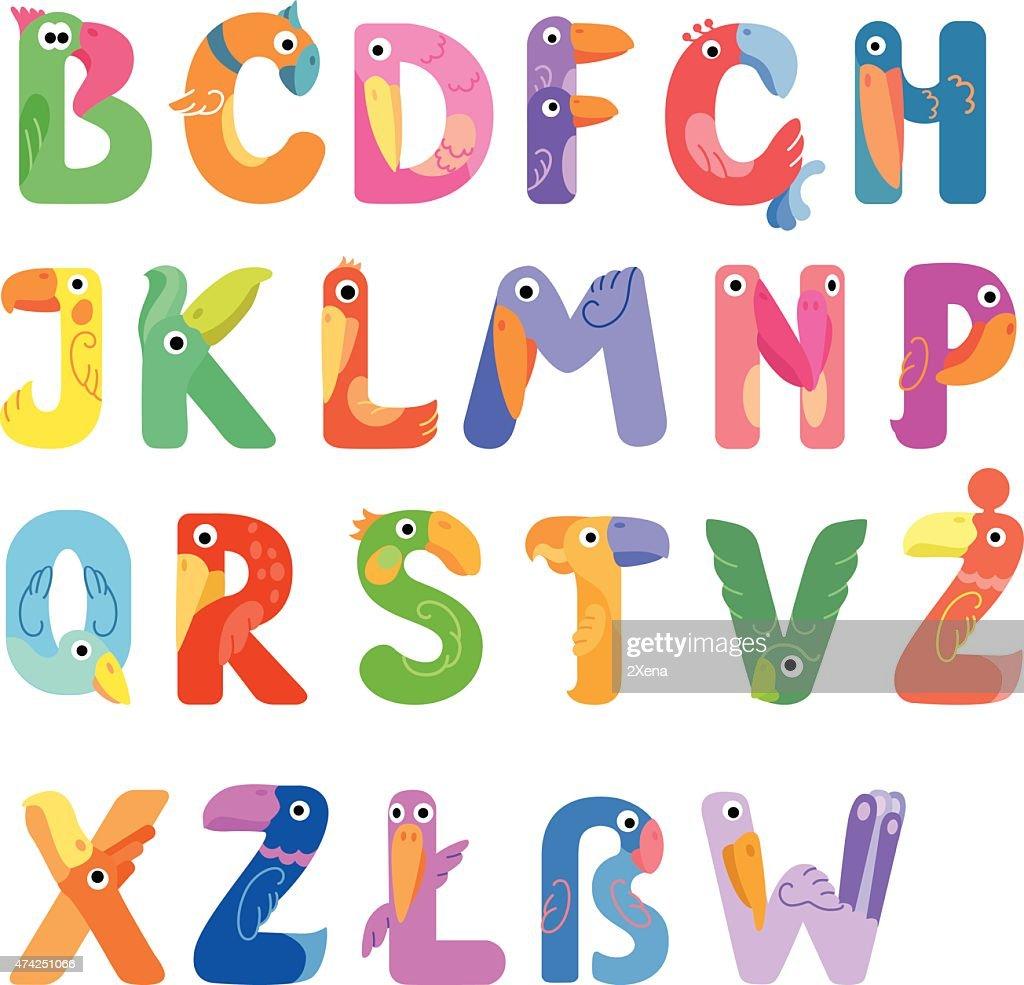 Consonants of the Latin alphabet like different birds
