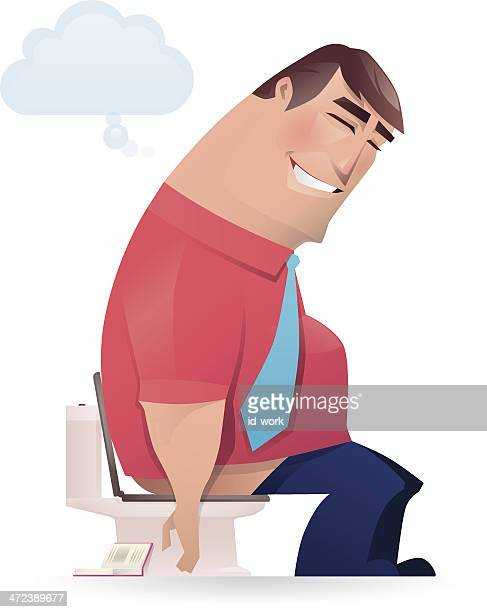 constipated man - defecating stock illustrations, clip art, cartoons, & icons