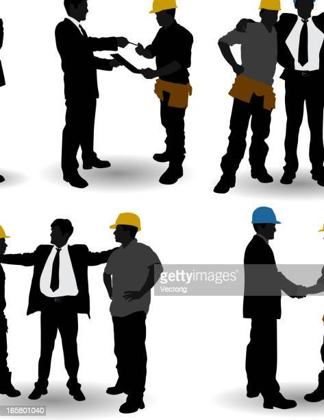 constraction employer - foreman stock illustrations, clip art, cartoons, & icons
